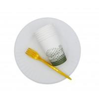 Набор посуды на 6 персон (тарелка 23 см., стакан 210 мл., вилка пластик)